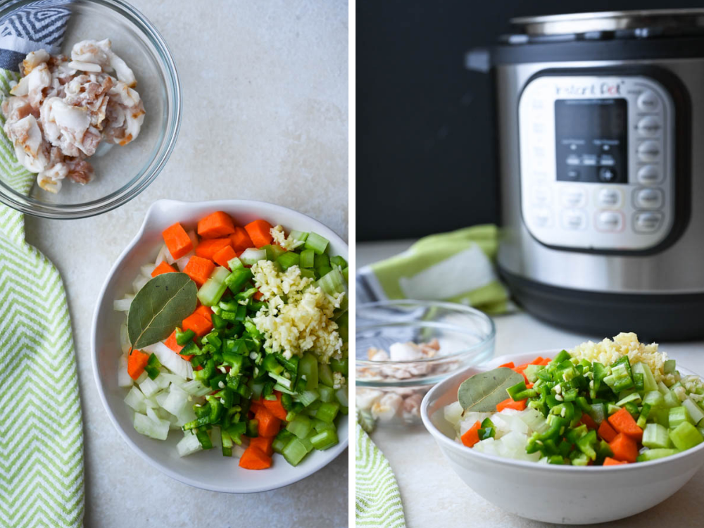 prepping vegetables and bacon for new years recipes for dinner in Instant Pot