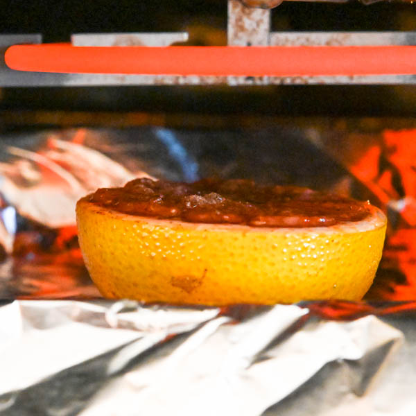 broiled grapefruit under the heating element in the oven.
