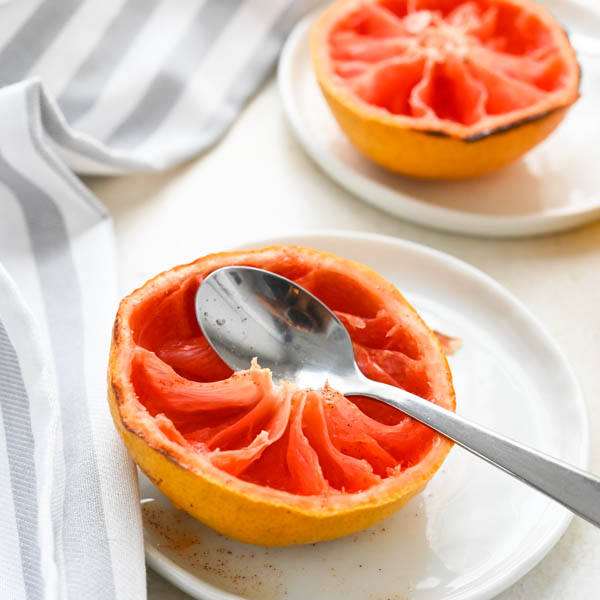 A broiled grapefruit after the segments have been eaten.