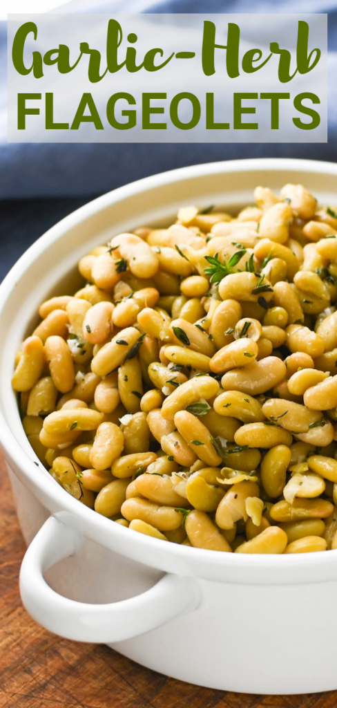 Flageolets are French legumes that will elevate any meal. With a heady dose of garlic and herbs it's way better than most canned bean recipes. #flageolets #cannedbeanrecipes #frenchlegumes #garlicherb #sidedish #beansidedish #easysidedish #legumes