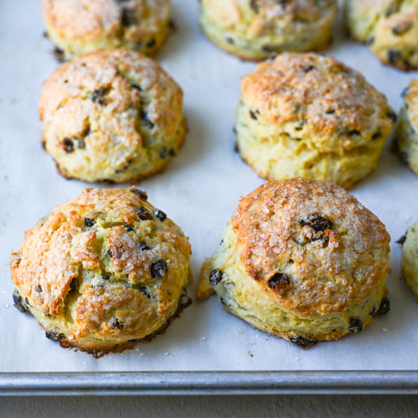 baked breakfast scones on a baking sheet.
