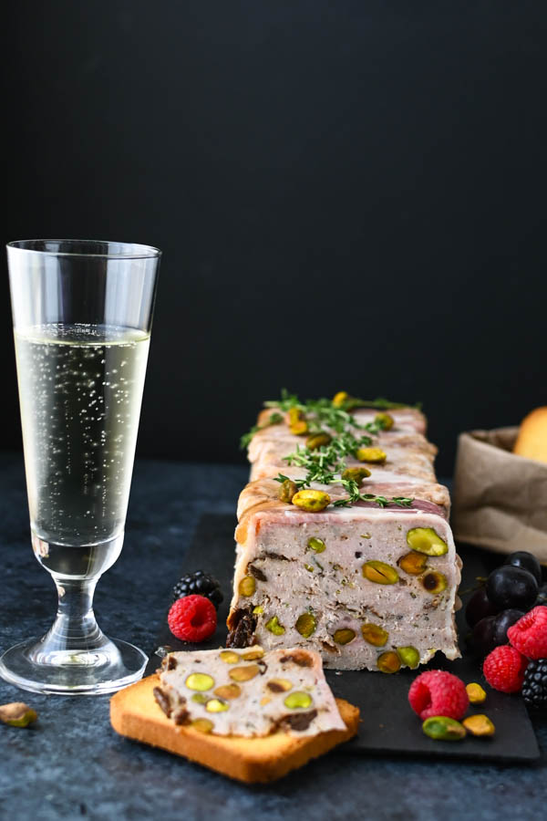 Veal and Pork Country Pâté with sparkling wine.
