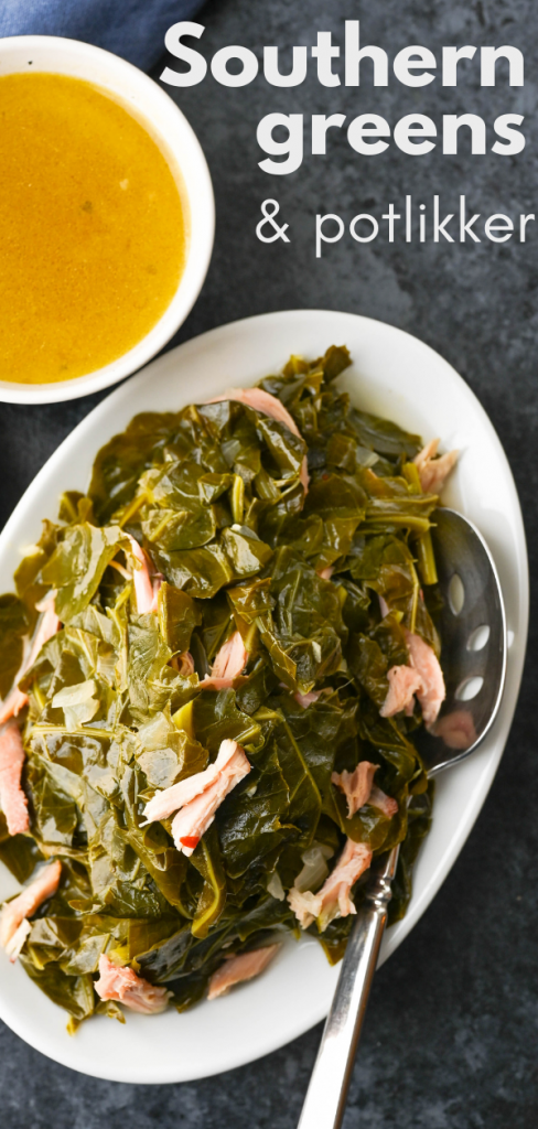 Ensure prosperity in the New Year with Southern greens and potlikker. Deeply flavorful, this recipe uses smoked turkey wings to flavor the heavenly broth. #collardgreens #cookedgreens #newyearstraditions #newyearsday #potlikker #southerngreens #slowcookedgreens #collardgreensrecipe #whatispotlikker #potliquor #smokedturkeywings