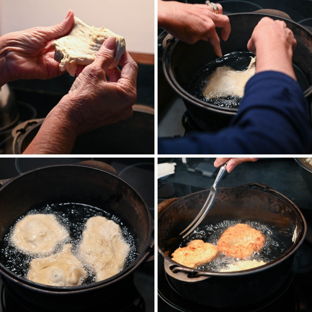 stretching the dough into rounds and placing in hot oil for pan fried bread.