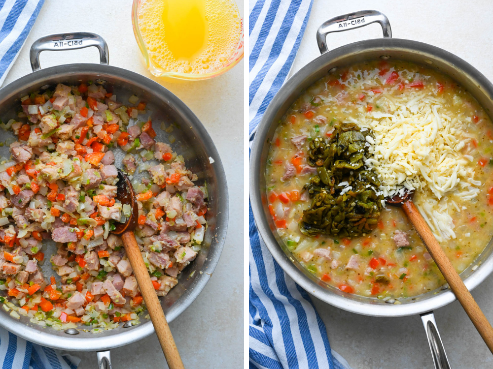 Side by side photos: Mixing flour into the ham mixture to coat and Adding broth chiles and cheese to the ham mixture.