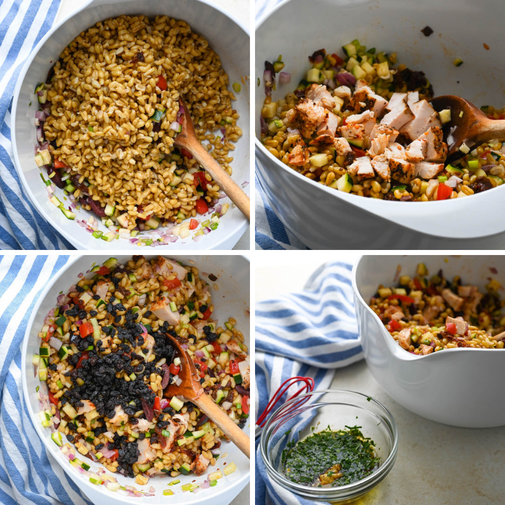 Steps for making Mediterranean Khorasan Wheat Salad and balsamic dressing.