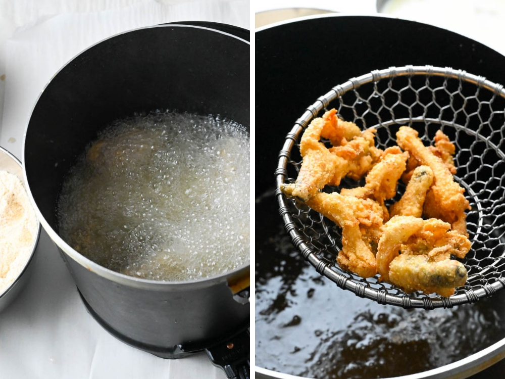 frying clams in a deep fryer and removing fried whole belly clams with a spider.