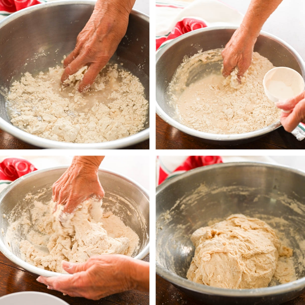 Steps for adding flour and mixing the dough.