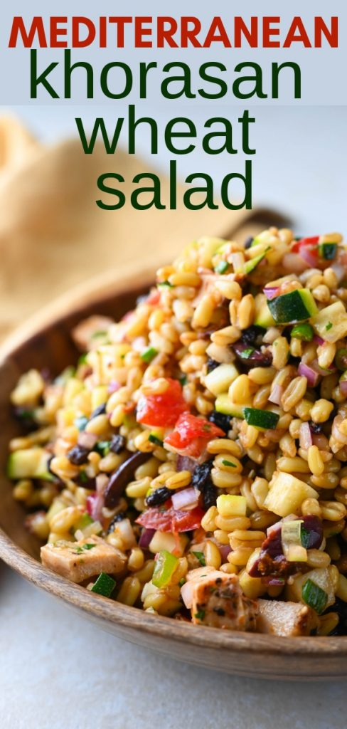 What is KAMUT? It's the main ingredient in this hearty, healthy Mediterranean Khorasan Wheat Salad. An ancient grain that's chewy, nutty and delicious! #khorasanwheat #kamut #whatiskamut