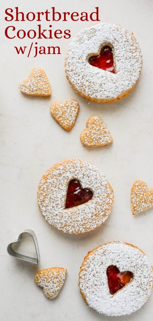 If you like cookies and jam, these hazelnut shortbread cookies with jam are festive, delicious, jam-filled cookies. Use Linzer cookie cutters to make 'em.#hazelnutspicecookies #shortbreadcookieswithjam #jamfilledcookies #linzercookiecutter