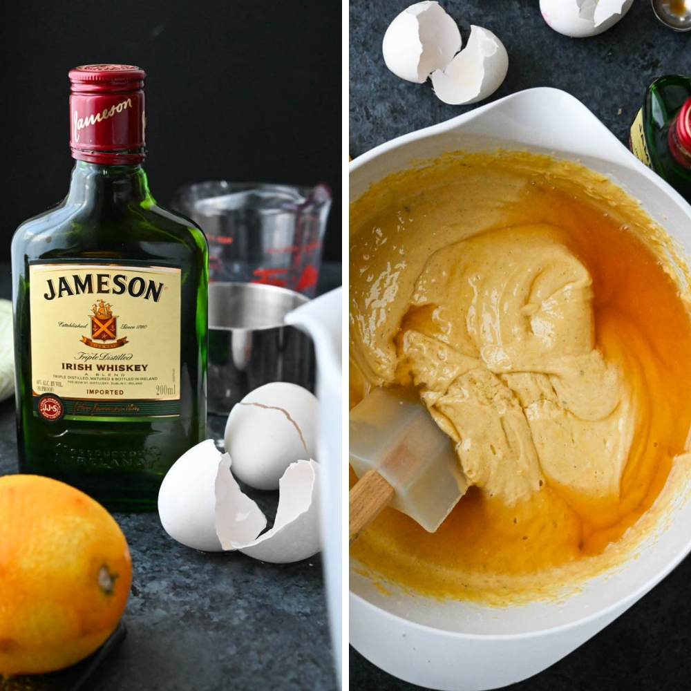 Adding Jameson Irish whiskey to the batter.