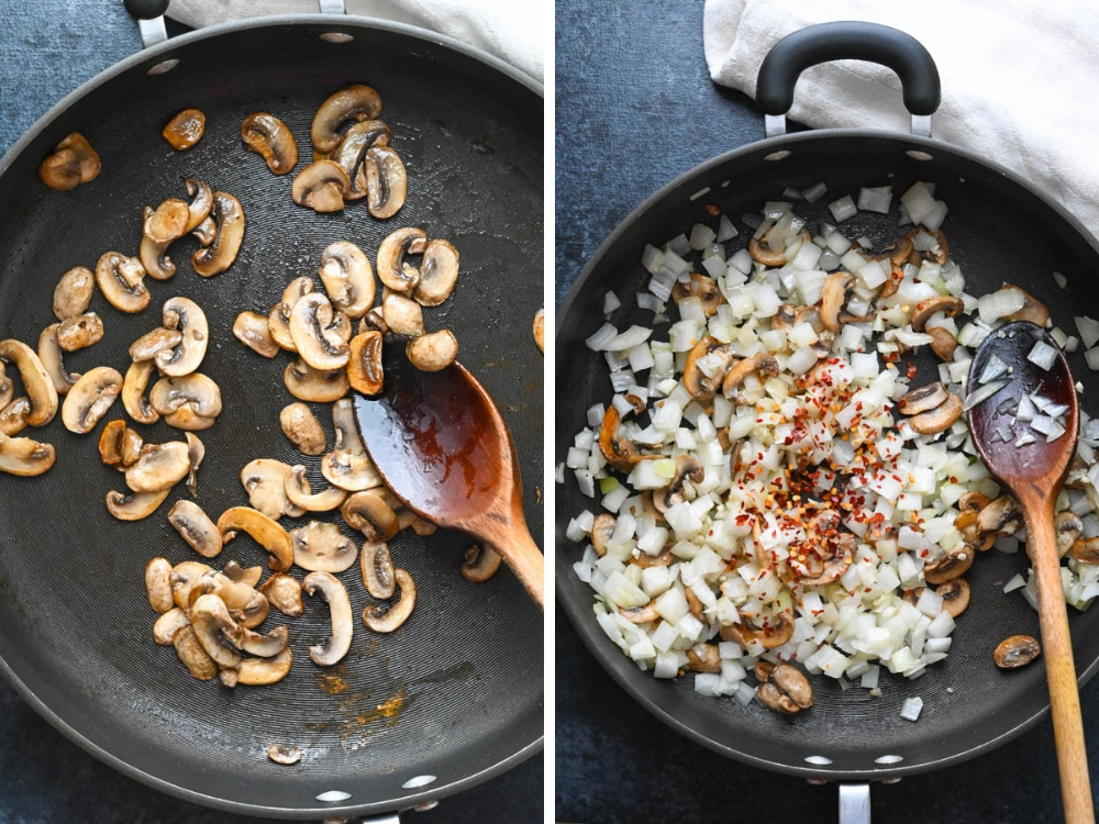 sautéing mushrooms and onions in a skillet.