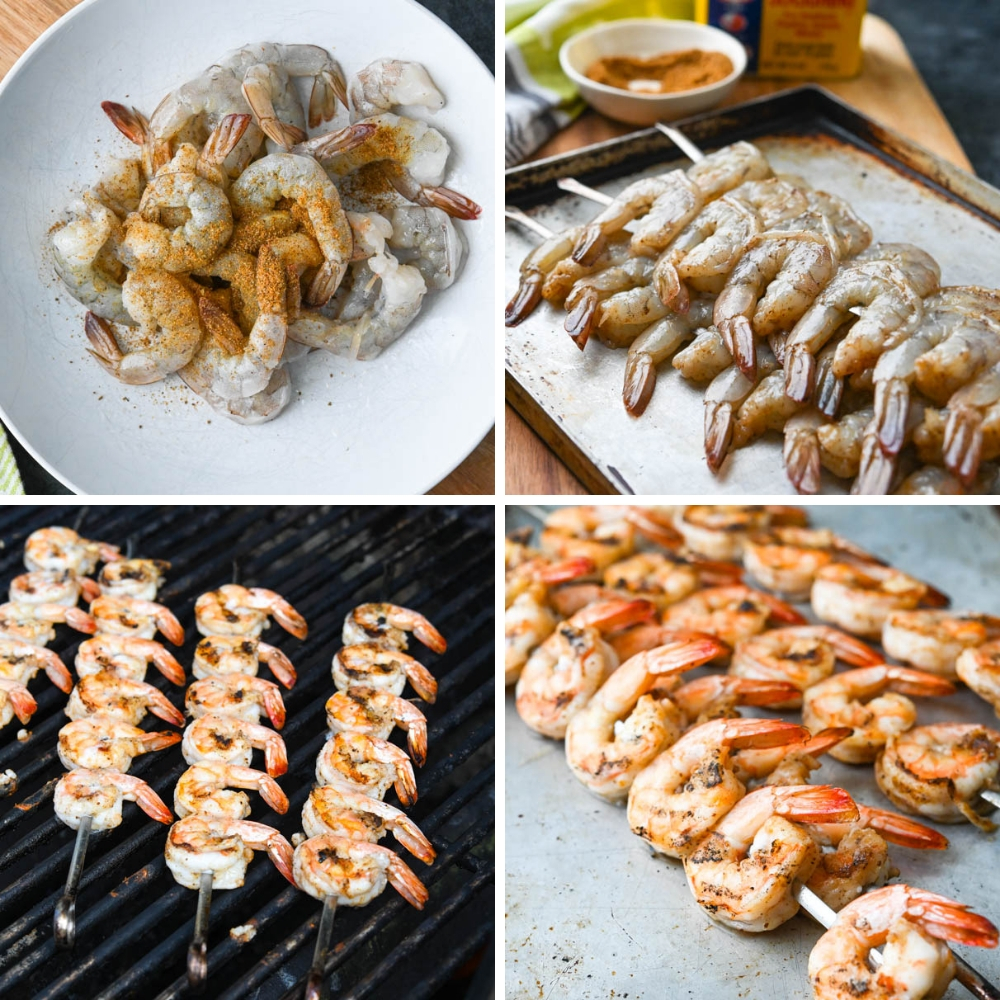 seasoning the shrimp with old bay and grilling them on skewers.