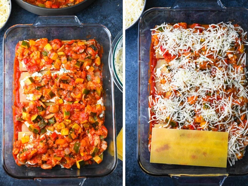 continuing to layer lasagna.