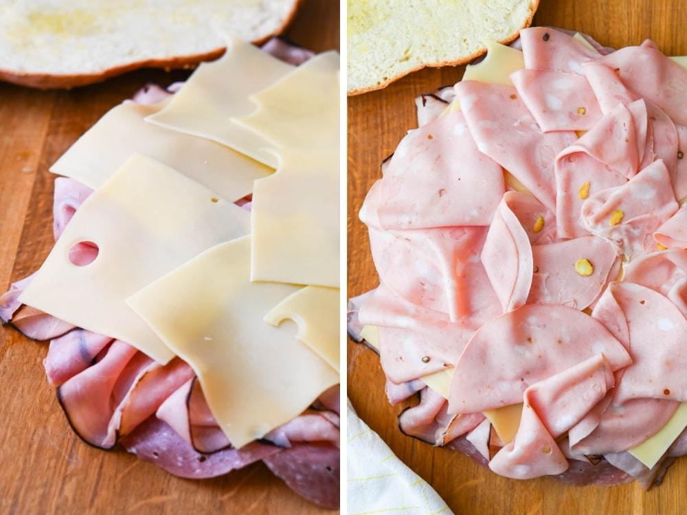 adding cheese to the muffuletta sandwich recipe.