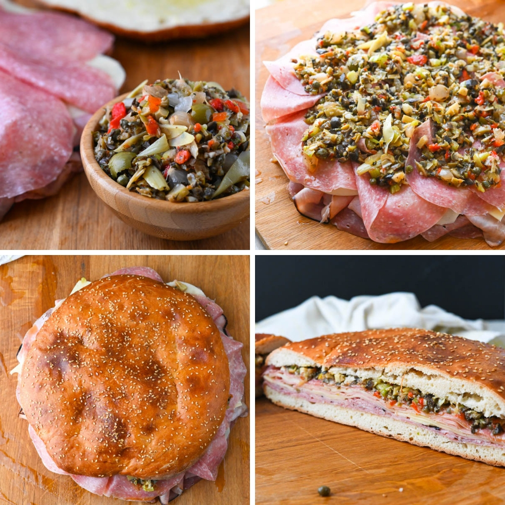 topping the new orleans sandwich with classic olive muffuletta mix.