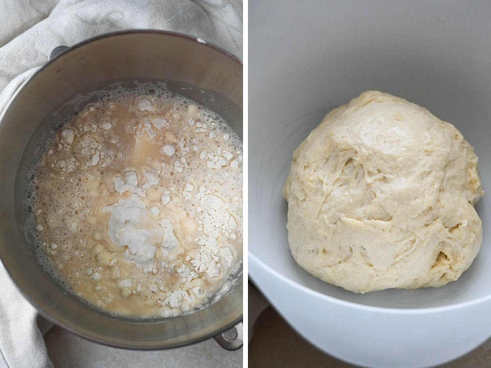 mixing the dough for homemade white bread.