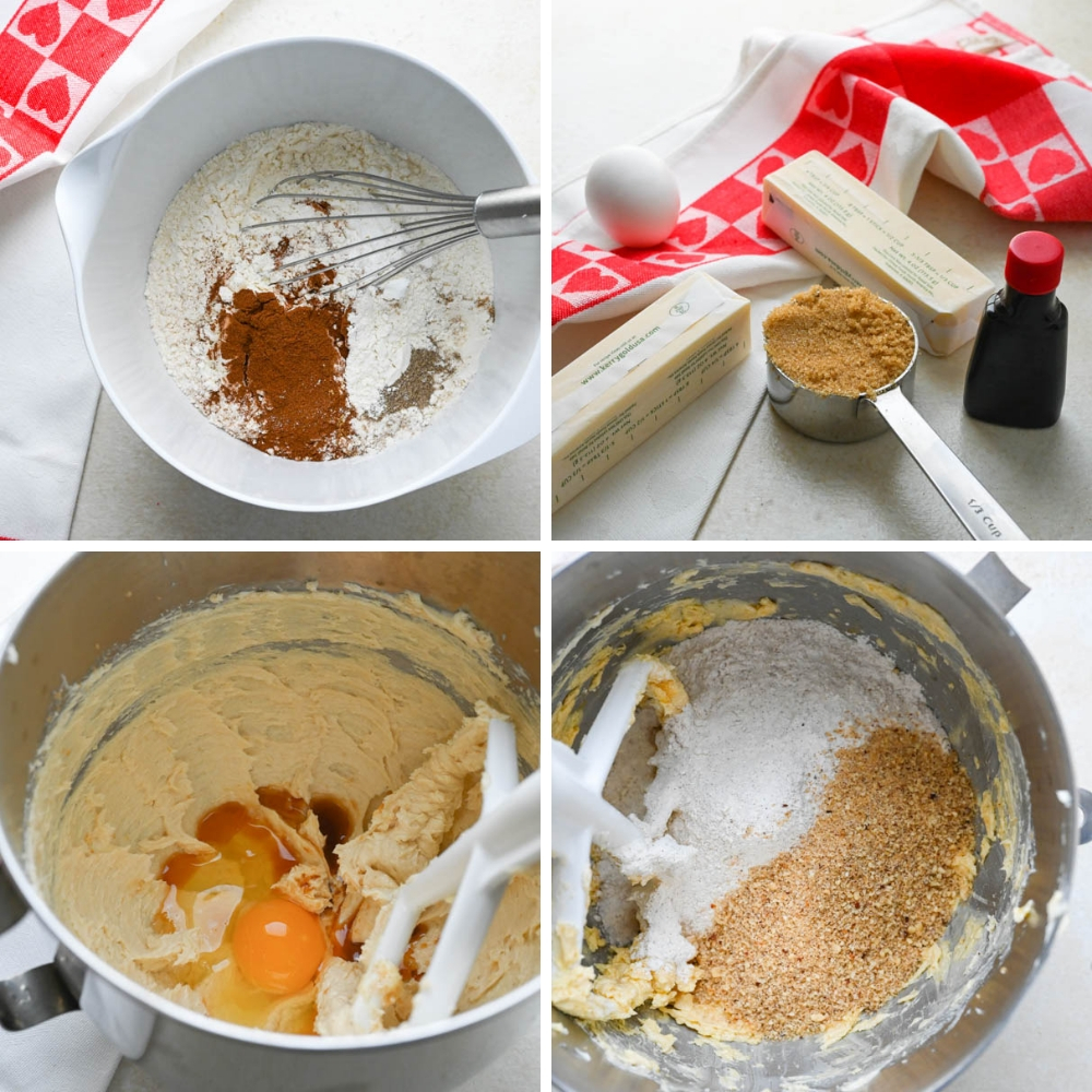 steps for making hazelnut spice cookie dough.