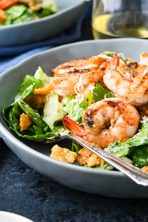 spicy grilled shrimp salad with seasoned breadcrumbs.