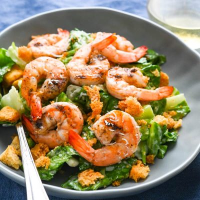 Grilled Shrimp Caesar Salad with Creamy Caesar Dressing