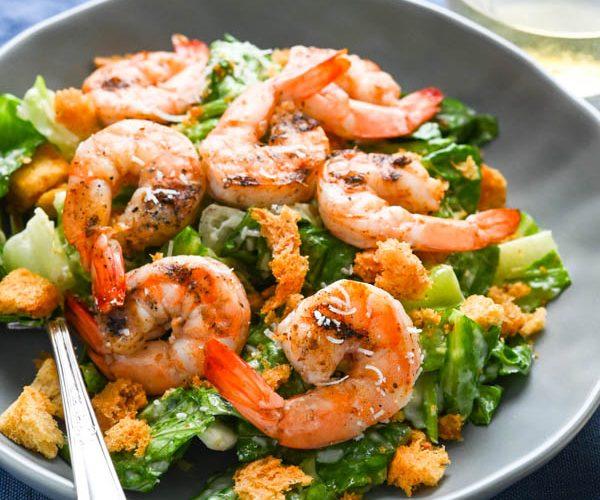 Grilled Shrimp Caesar Salad with Creamy Caesar Dressing