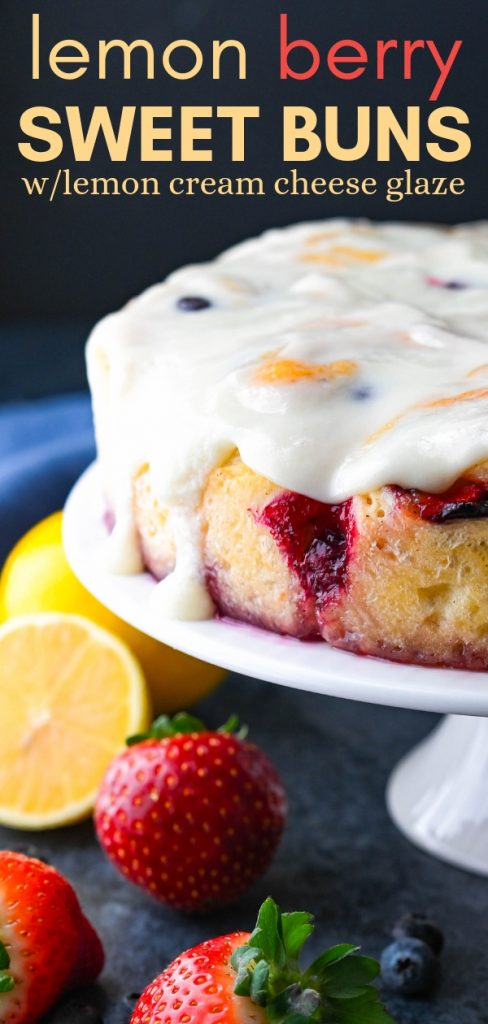 Jazz up your next brunch and serve Lemon Berry Sweet Buns with Lemon Cream Cheese Glaze. The sweet roll dough is easy to work with & the buns are heavenly. #sweetrolls #breakfastbuns #sweetbuns #easterbrunch