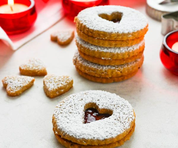 Hazelnut Shortbread Cookies with Jam