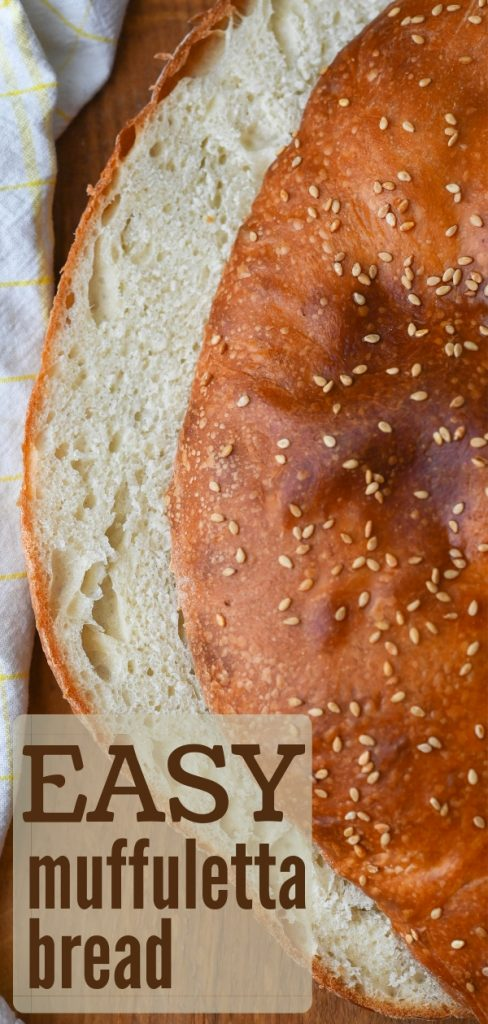 Muffuletta bread is a sturdy not-too-thick, round bread that's perfect for sandwiches. This homemade white bread is easier than you think to make! #muffulettabread #muffulettabreadrecipe #sandwichbread