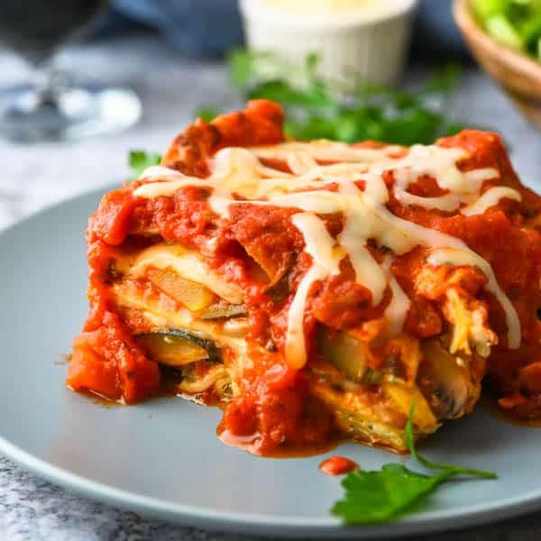 closeup photo of baked lasagna recipe.