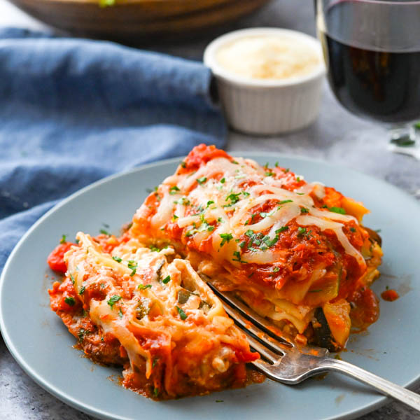 Vegetable Ratatouille Cottage Cheese Lasagna