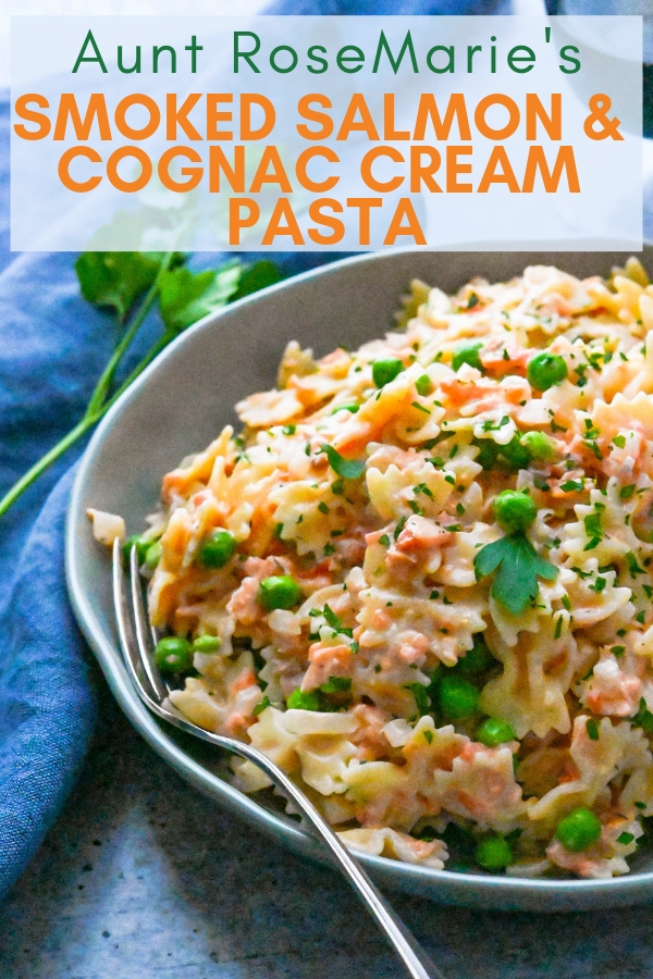 RoseMarie's Best Smoked Salmon with Cognac Cream Pasta is a family favorite. The cognac cream sauce is so good. Love it for lent or any time we crave pasta. #smokedsalmonrecipes #salmonpasta