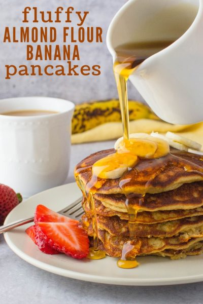Want gluten free dairy free pancakes that are tender, light and delicious? These Almond Flour Banana Pancakes are it. A gluten free banana pancake w/flavor! #glutenfreepancakes #glutenfreedairyfreepancakes #bananapancakes