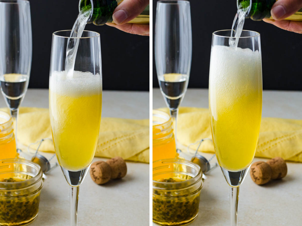 topping passion fruit syrup with sparkling wine.