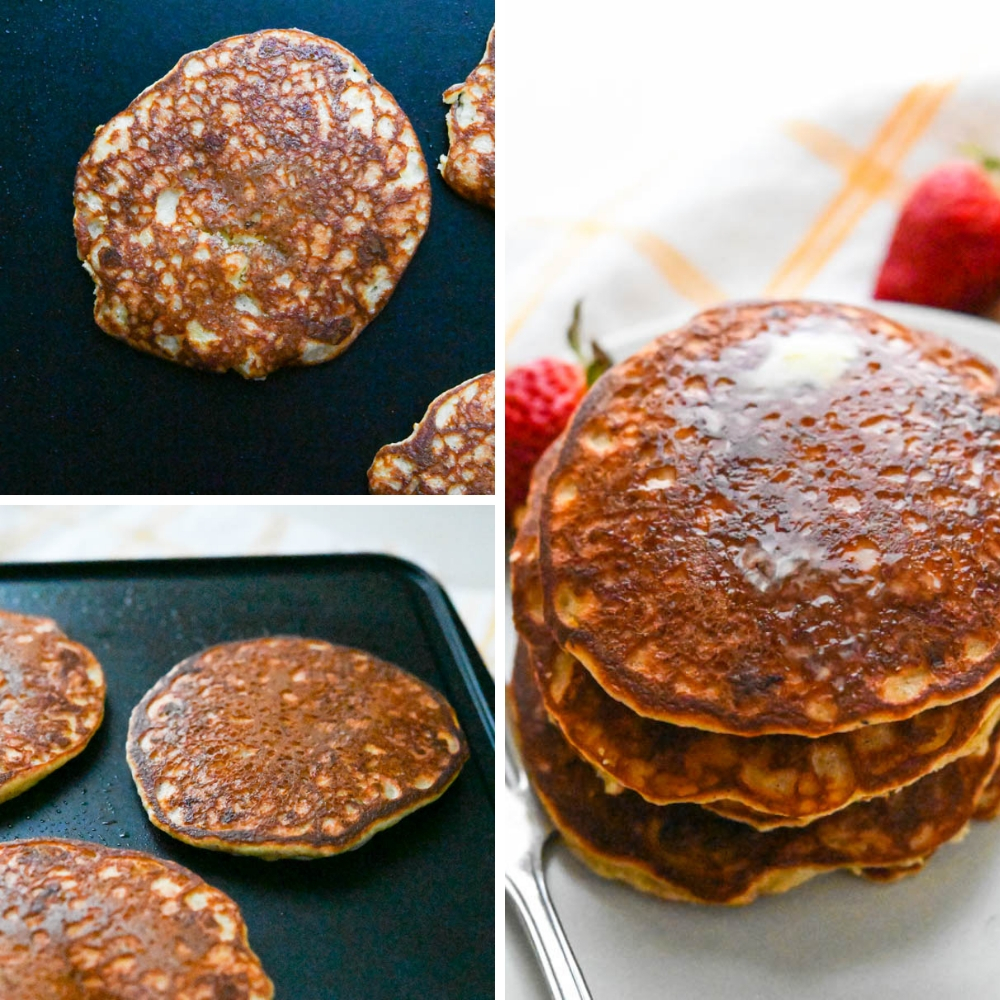flipping and serving almond flour banana pancakes.