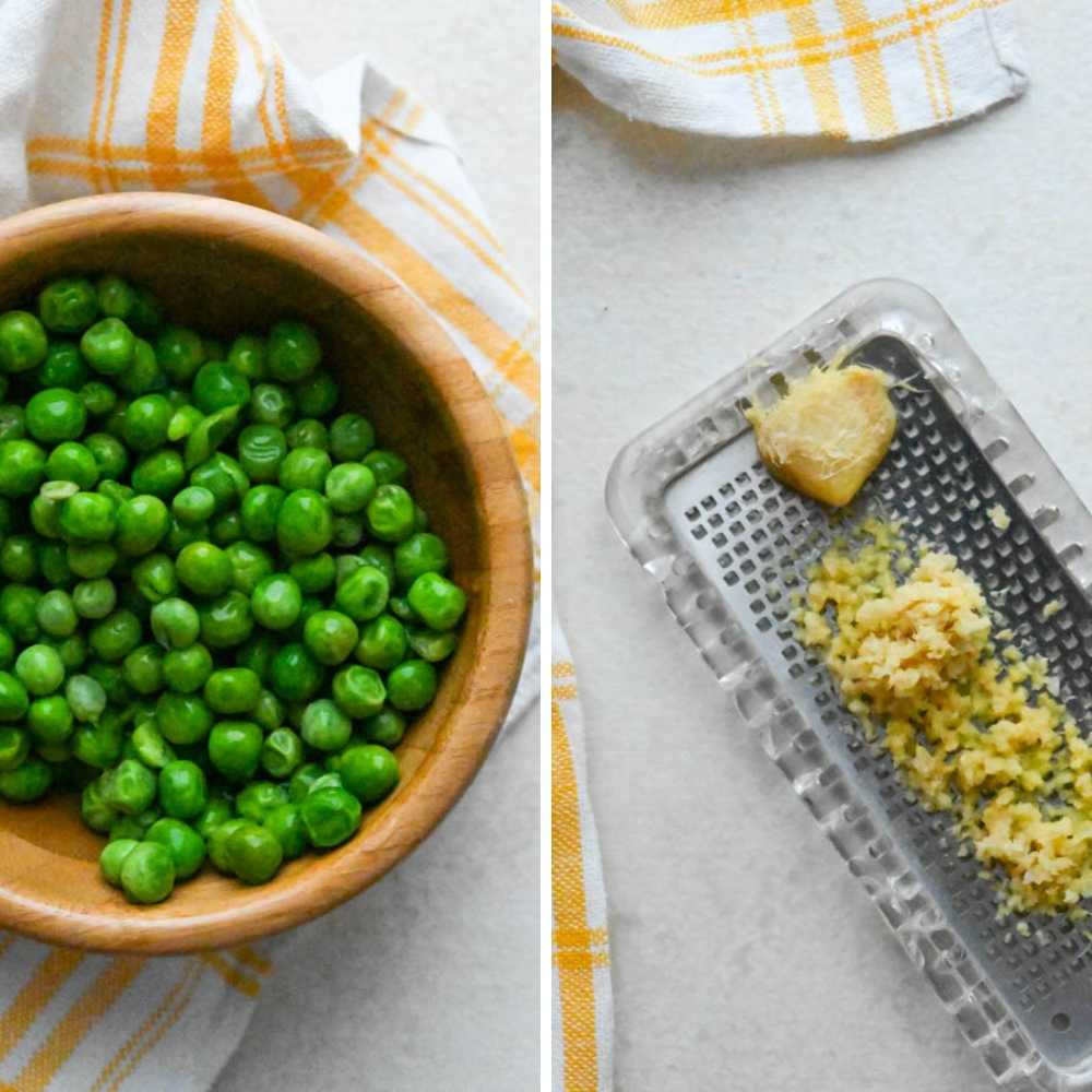 peas and grated ginger.