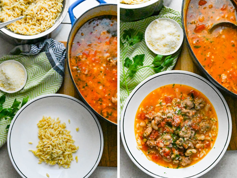 how to serve the pasta fagioli with orzo.