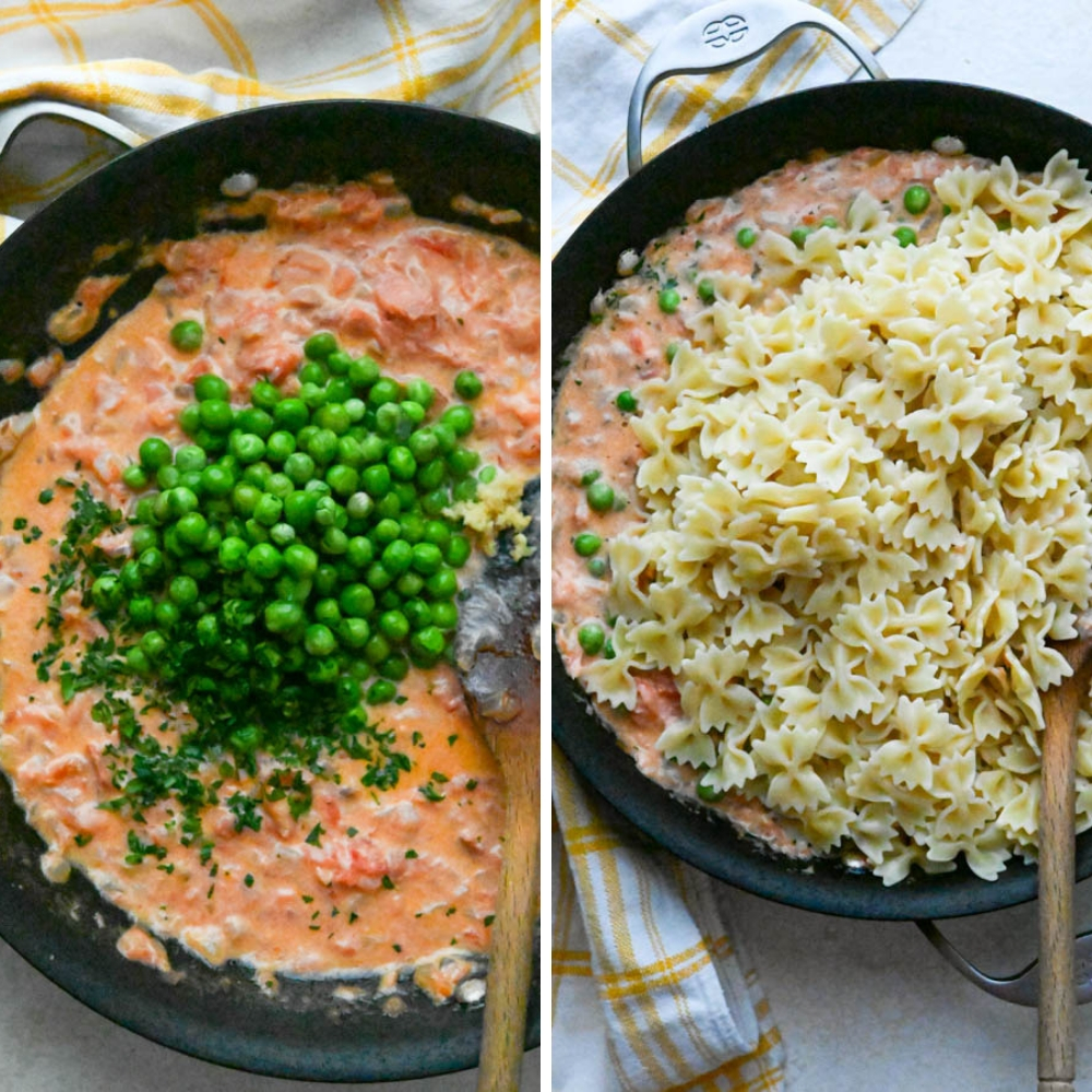 mixing peas and pasta into the cognac cream sauce.
