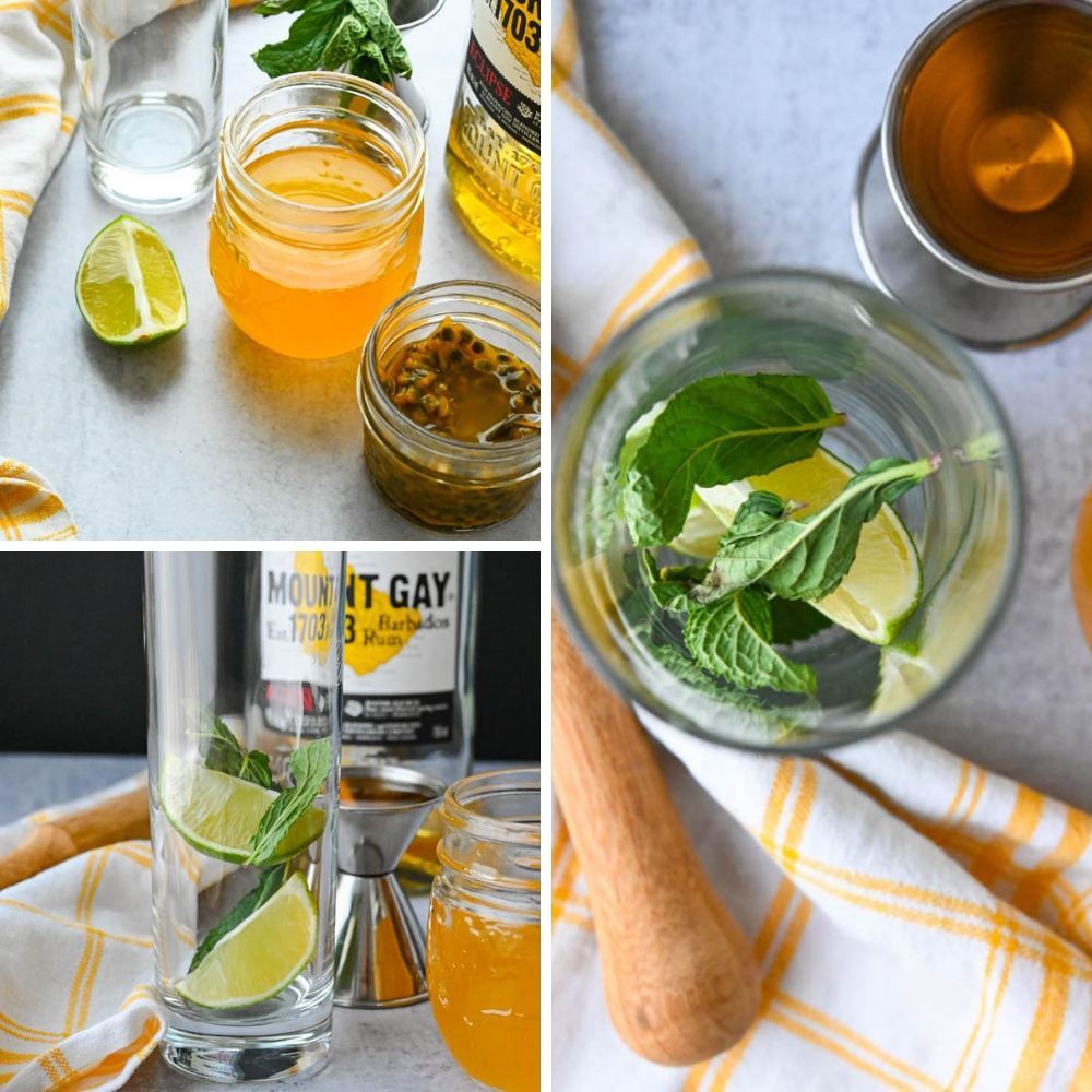 Ingredients for flavored mojitos