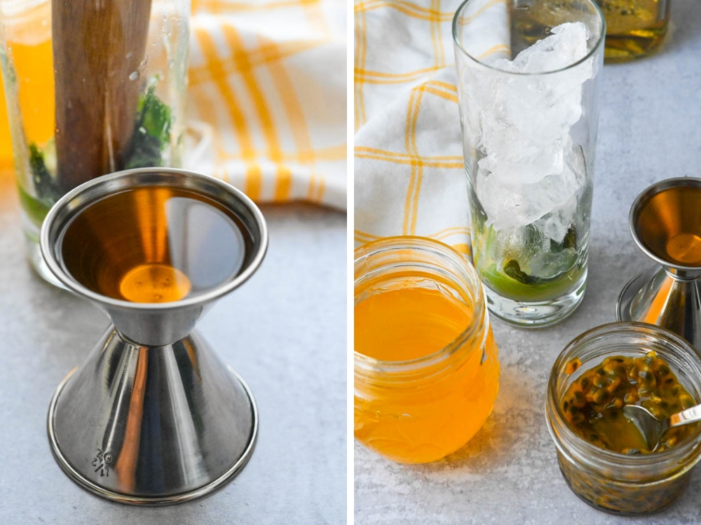 rum and passion fruit syrup for easy mojito recipe.