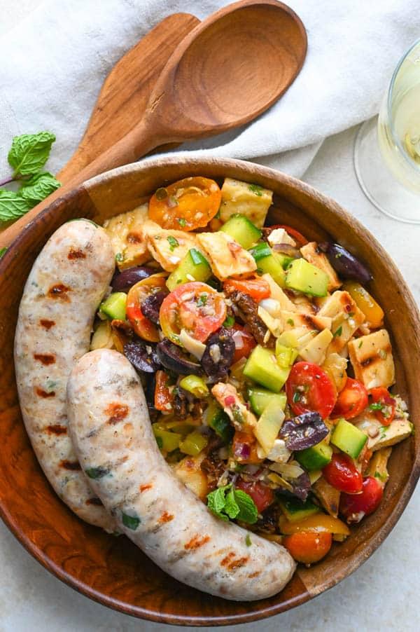 Panzanella in a serving bowl.