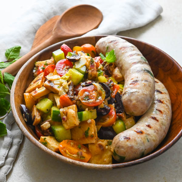 Grilled Pita Panzanella Salad with Chicken Sausages