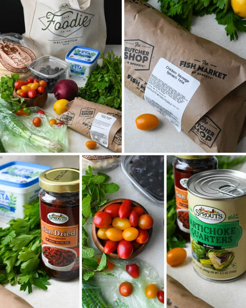 ingredients for chicken spinach feta grilled panzanella salad.