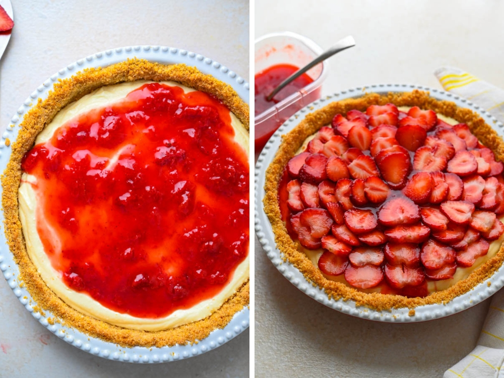spreading glaze over filling and layering with strawberries for no bake strawberry pie
