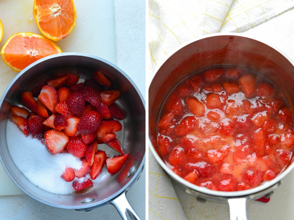 making strawberry glaze with fresh strawberries and orange juice.