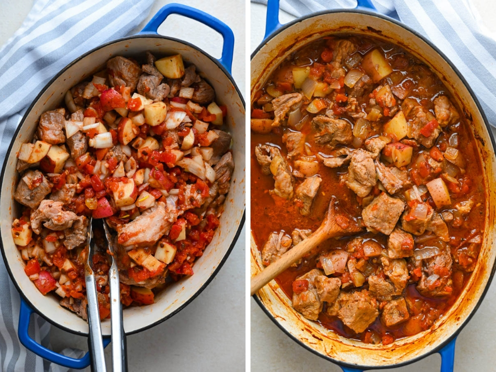 before and after braising the tinga de puerco filling.