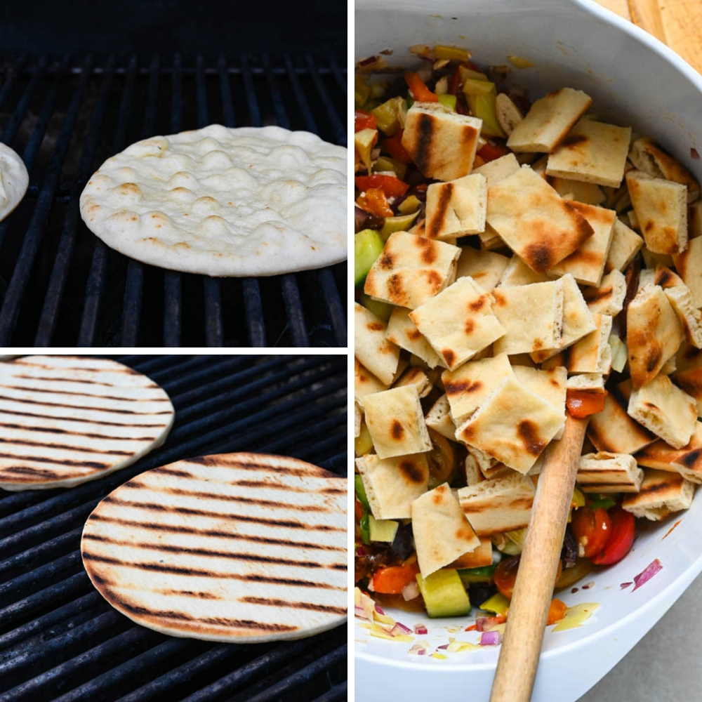 grilled pita bread on the weber and adding it to the salad.