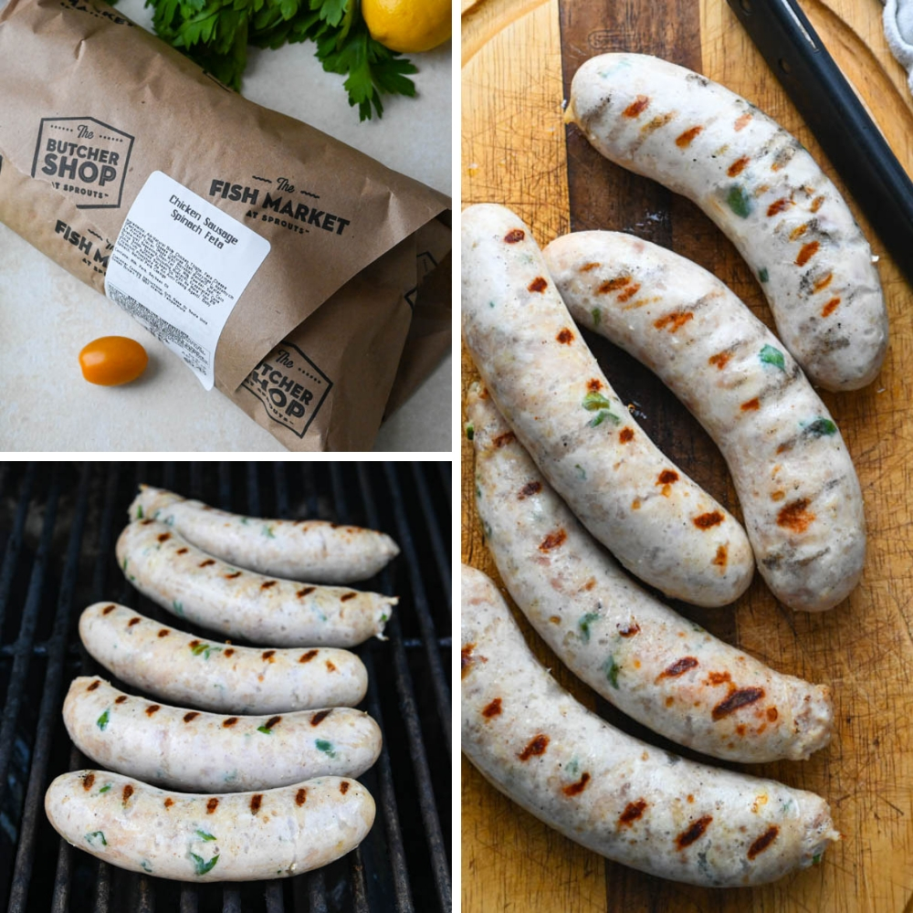 grilled chicken spinach feta sausages from Sprouts