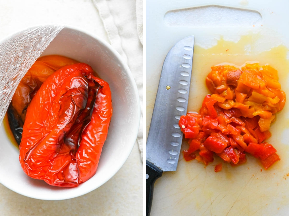 roasted bell peppers, skinned and chopped.
