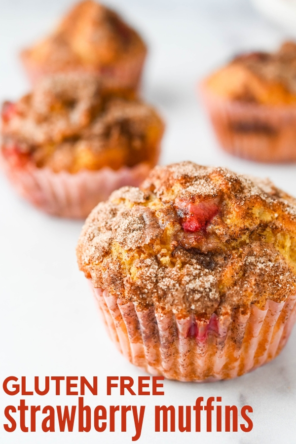 Need a good gluten free muffin recipe? You'll love gluten free strawberry muffins. Unlike dry, crumbly corn meal muffins, these are moist and tender! #cornmuffinrecipes #glutenfreemuffins
