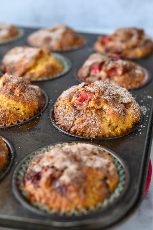 Gluten Free Strawberry Muffins hot from the oven.